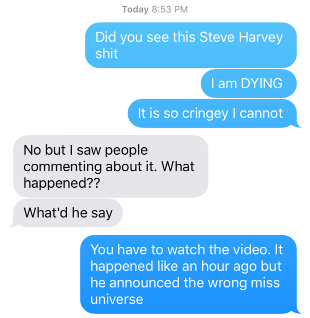 steve harvey text universe