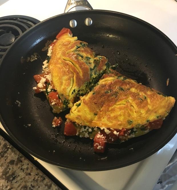 feta spinach tomato garlic omelette