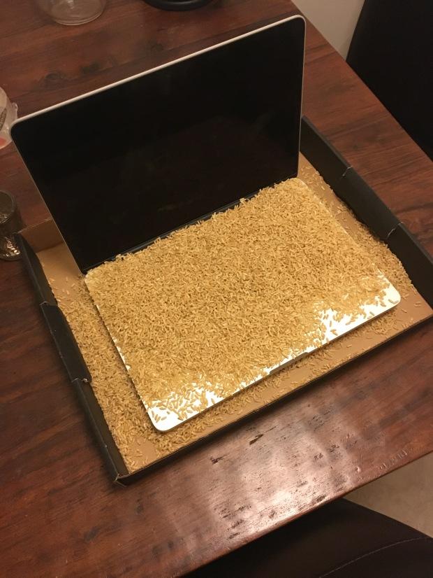 rice computer spill liquid coke