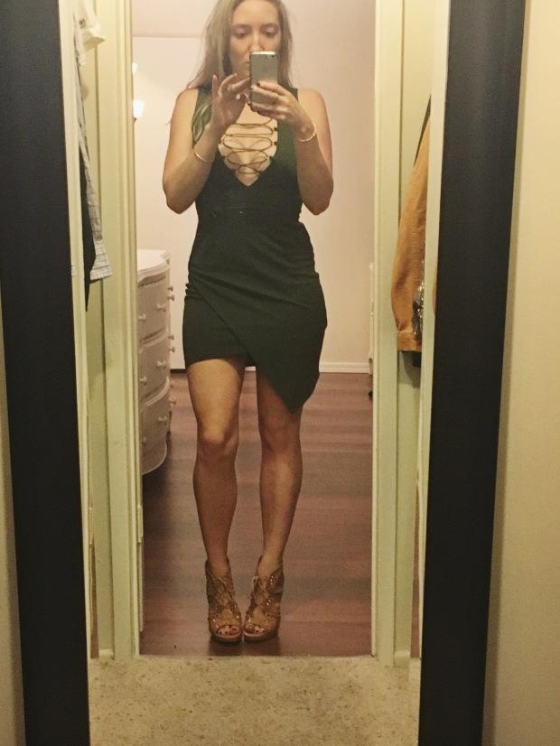 lf olive green dress