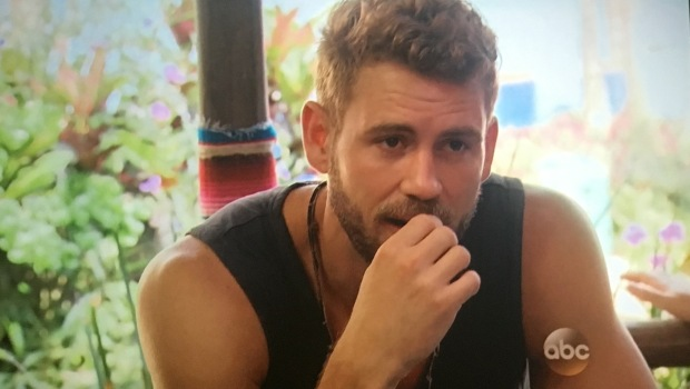 nick stressing bachelor in paradise